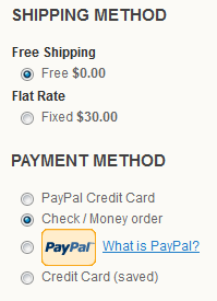 Default Shipping and Payment Methods