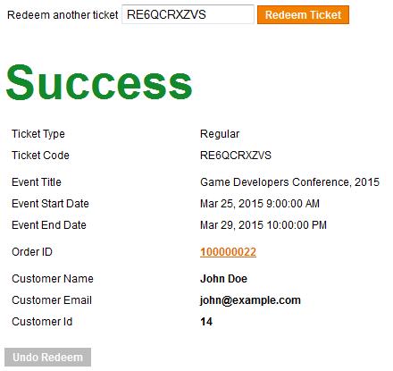 Ticket is Redeemed