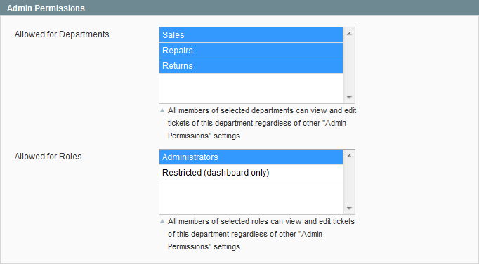 Admin Permissions settings